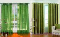 Выбираем шторы в комнату с зелеными обоями