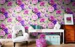 Обои с цветами: фото в интерьере, цветы на стену, крупные маки, розы, мелкие букеты, белые пионы, 3д красные и розовые, акварель, видео